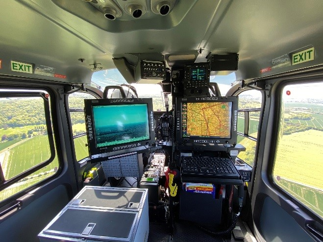 Tactical Flight Officer screens in helicopter